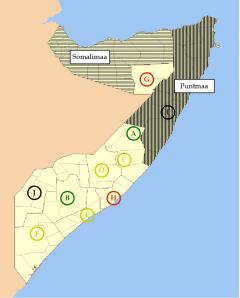 Somalian operatiivinen kartta rauhanturvaajien avuksi